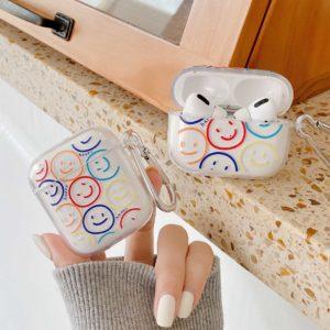 Plastový ochranný obal na AirPods sluchátka s potiskem smajlíků