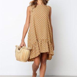 Dámské neformální plus size letní šaty s puntíky