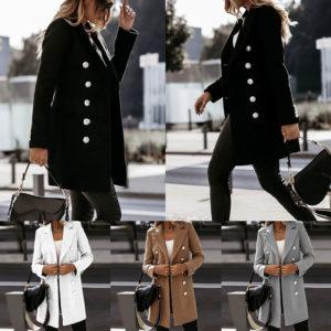 Podzimní dámský luxusní kabát se stříbrnými knoflíky