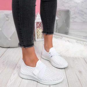 Dámské módní bílé tenisky s kamínky   HIT 2021