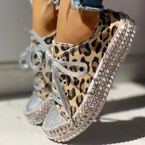 Dámské leopardí tenisky s kamínky