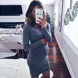 Dámské těhotenské uplé šaty s dlouhým rukávem