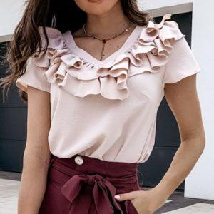 Dámské roztomilé triko s krátkým rukávem a volánky