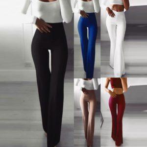 Dámské jednobarevné elegantní kalhoty s vysokým pasem