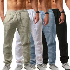 Pánské letní jednobarevné kalhoty
