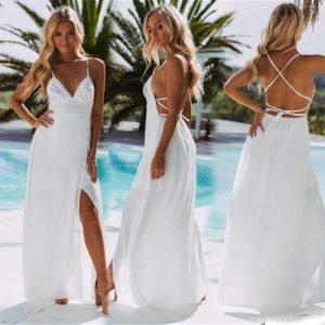 Dámské dlouhé šaty s rozparkem