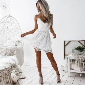 Dámské luxusní letní krátké šaty na ramínkách