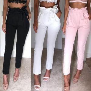 Dámské elegantní kalhoty s mašlí