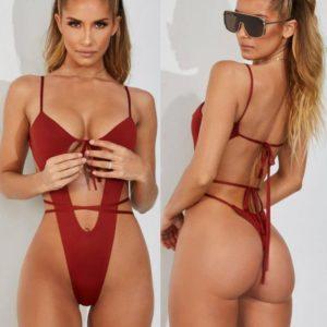 Jednodílné sexy dámské jednobarevné plavky s vykrojeným bříškem