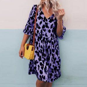 Dámské letní PLUS SIZE leopardí šaty