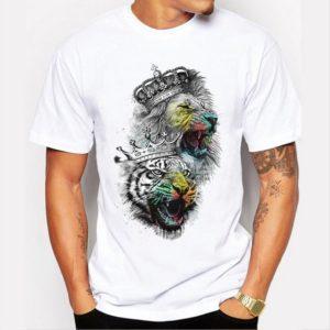 Stylové pánské tričko s potiskem lva