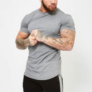 Basic pánské pohodlné bavlněné fitness triko s krátkým rukávem