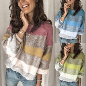 Dámský volný svetr s pruhy