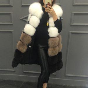 Luxusní dámská kožešinová tříbarevná vesta LUX