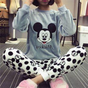 Dámské roztomilé Mickey chlupaté pyžamo