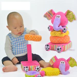 Plyšové skládací kroužky pro novorozence - Slon