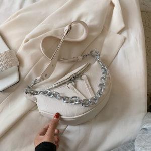 Dámská módní koženková ledvinka s masivním řetízkem
