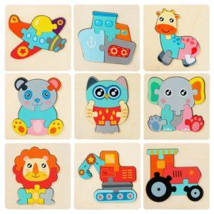 3D dřevěné kreslené dětské puzzle