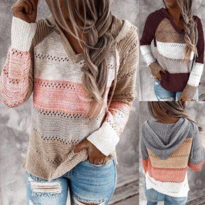 Dámský módní svetr s kapucí