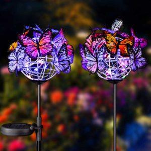 Zahradní solární osvětlení s motýlky